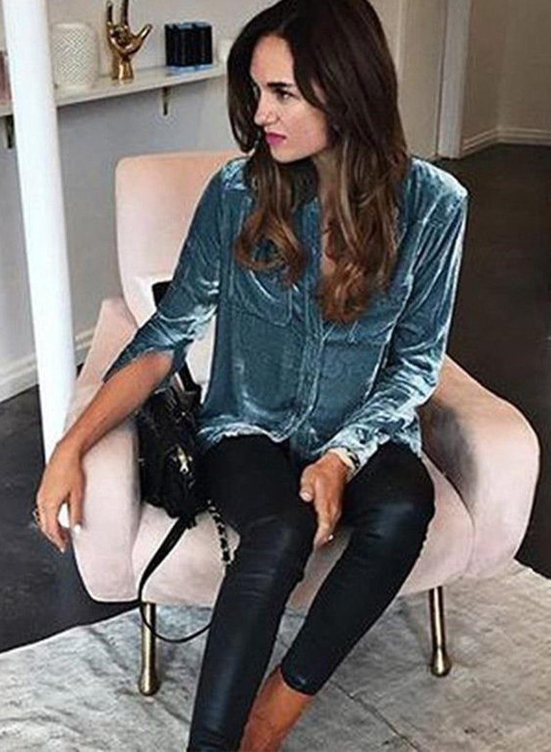 Velvet Long-sleeved Lapel Pocket Blouse Shirt