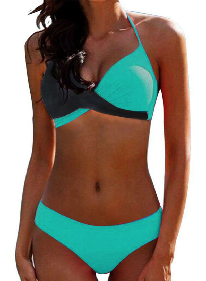 Contrast Cross Hard Cup Two Piece Bikini Swimsuit