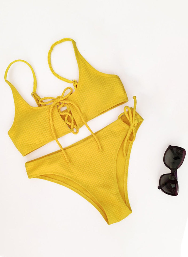 Special Fabric Braided Tie Bikini Two Piece Swimsuit