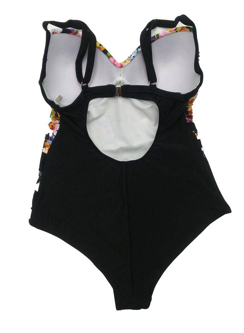 Floral Print Hard-clad Steel Support One Piece Swimsuit