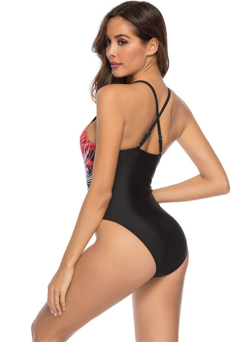 Floral Print Slim Swimwear One Piece Swimsuit