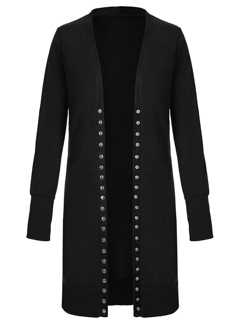Fashion Long Double-breasted Solid Color Cardigan