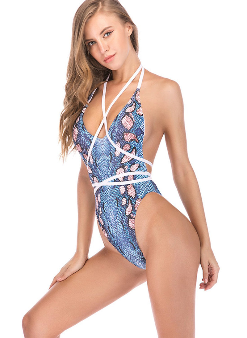 Deep V-neck Straps Snakeskin Digital Print Slim Swimsuit