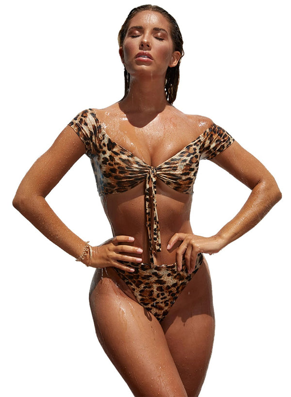 Leopard Print Bandage High Waist Tube Bikini Two-piece Swimsuits