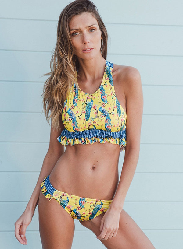 Halter Cross Folded Print Two-Piece Bikini Swimsuits