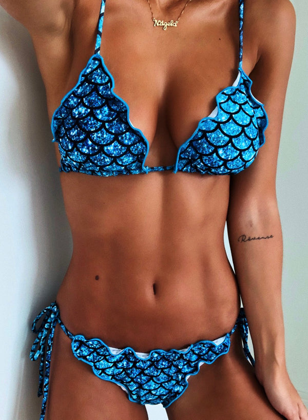 Fish Scale Print Triangle Soft-cup Bikini Two Piece Swimsuis