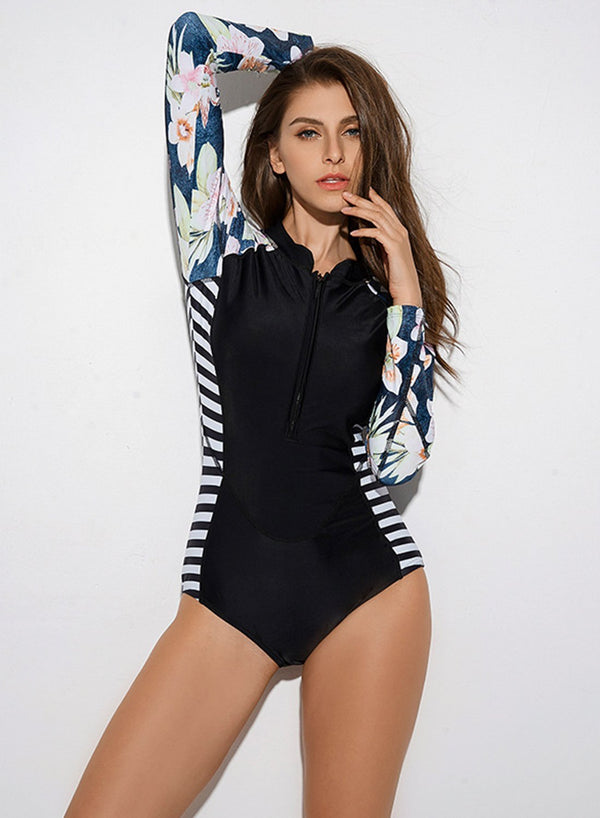 Contrast Zip Long Sleeve Surf Sport Suit One Piece Swimsuit