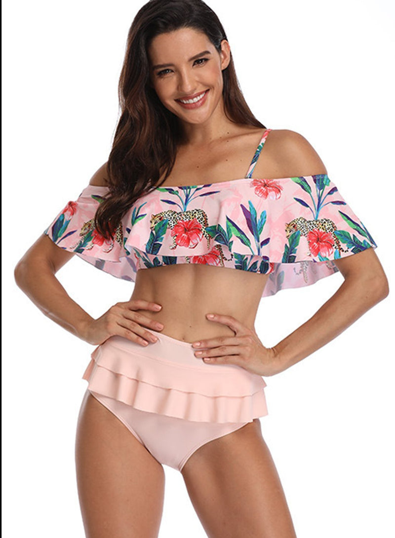 Flower Printed Off Shoulder High Waist Bikini One-piece Swimsuit