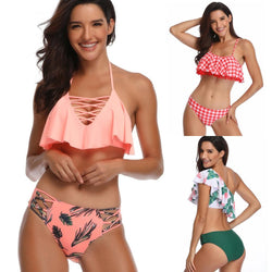 Braid Ruffle Solid Bathing Bikini Set Two Piece Swimsuit