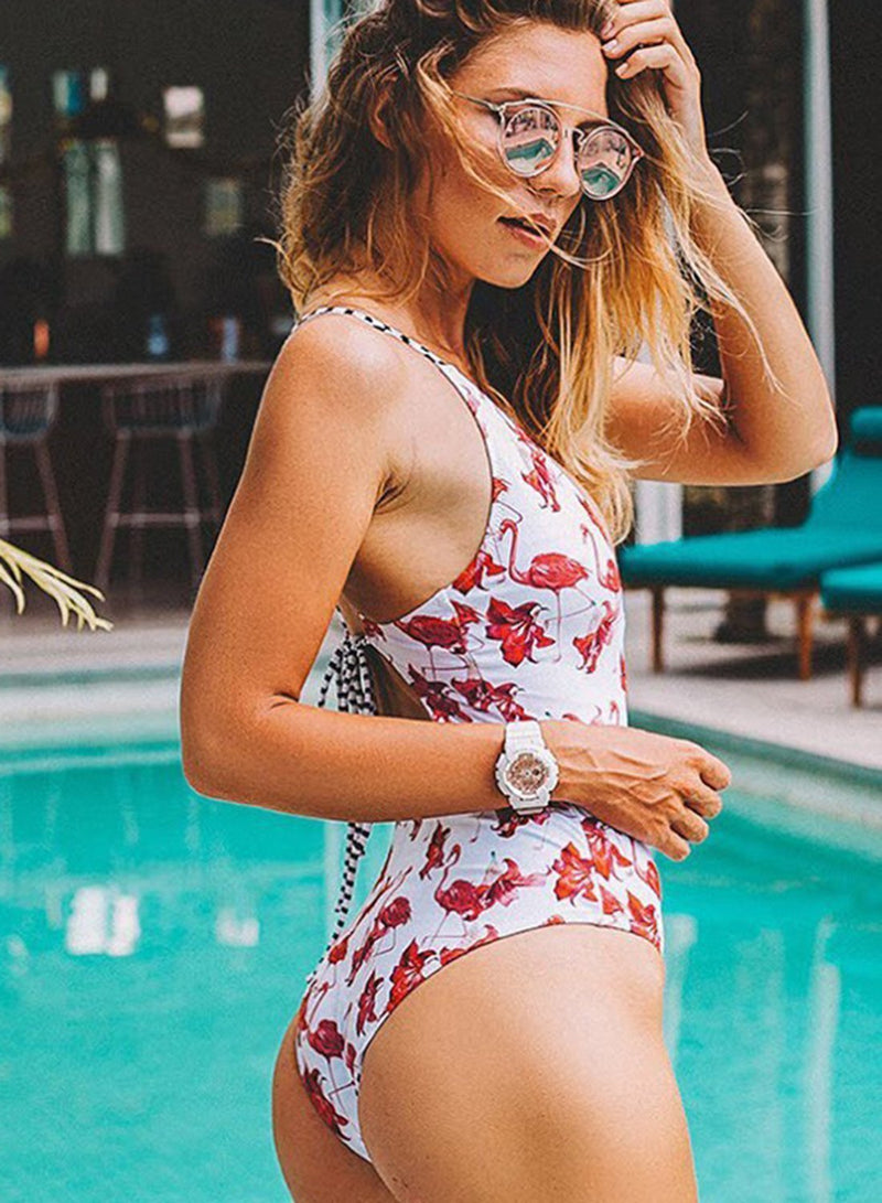 Flamingo Print Halter Bikini One Piece Swimsuit