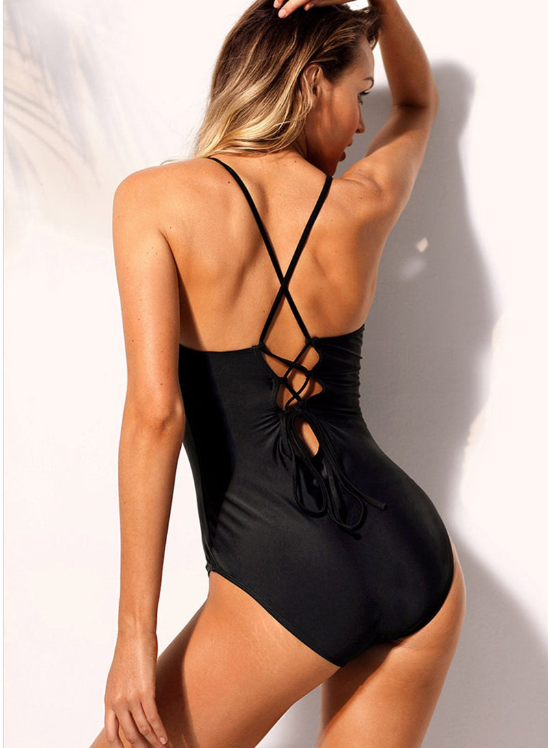 Unique Cross Straps V-neck Slim One Piece Swimsuit