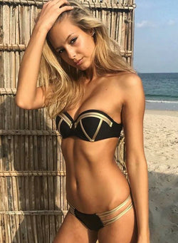 Solid Strap Hard Bikini Two-piece Swimsuit