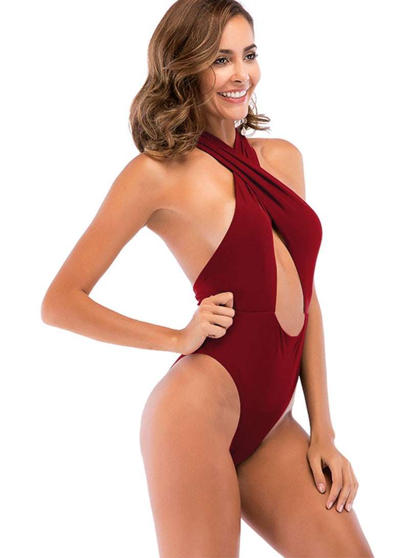 Strap Backless Cross Halter One Piece Swimsuit
