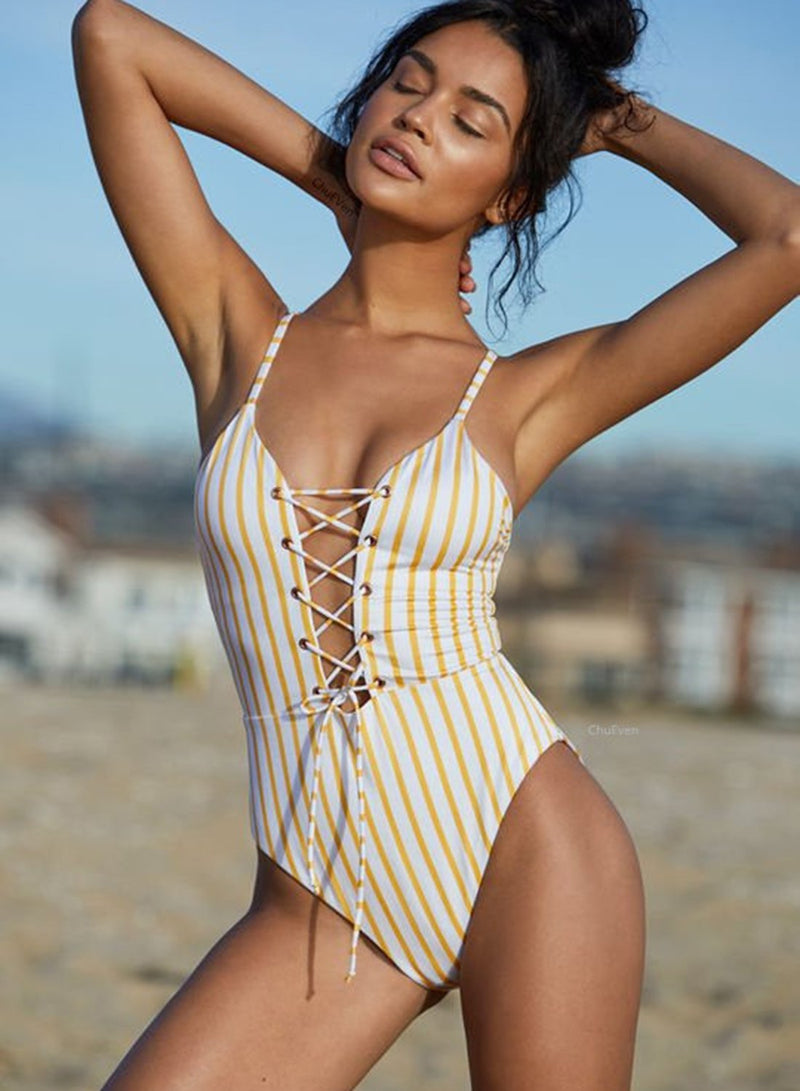 Yellow Striped Triangle Backless Strap One Piece Swimsuit