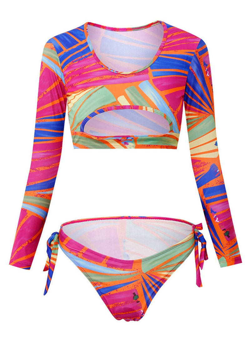 Rainbow Print Bikini Set Long Sleeve Cutout Topless Swimwear