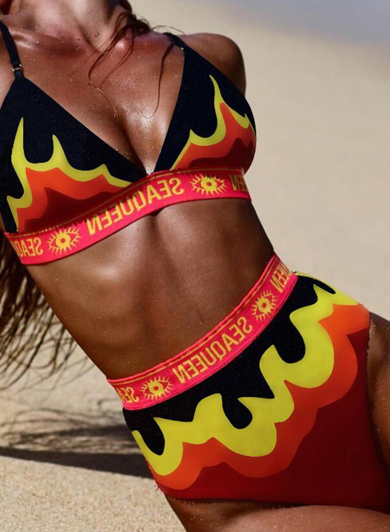 Gradient Flame Letter Printed Bikini Two Piece Swimsuit
