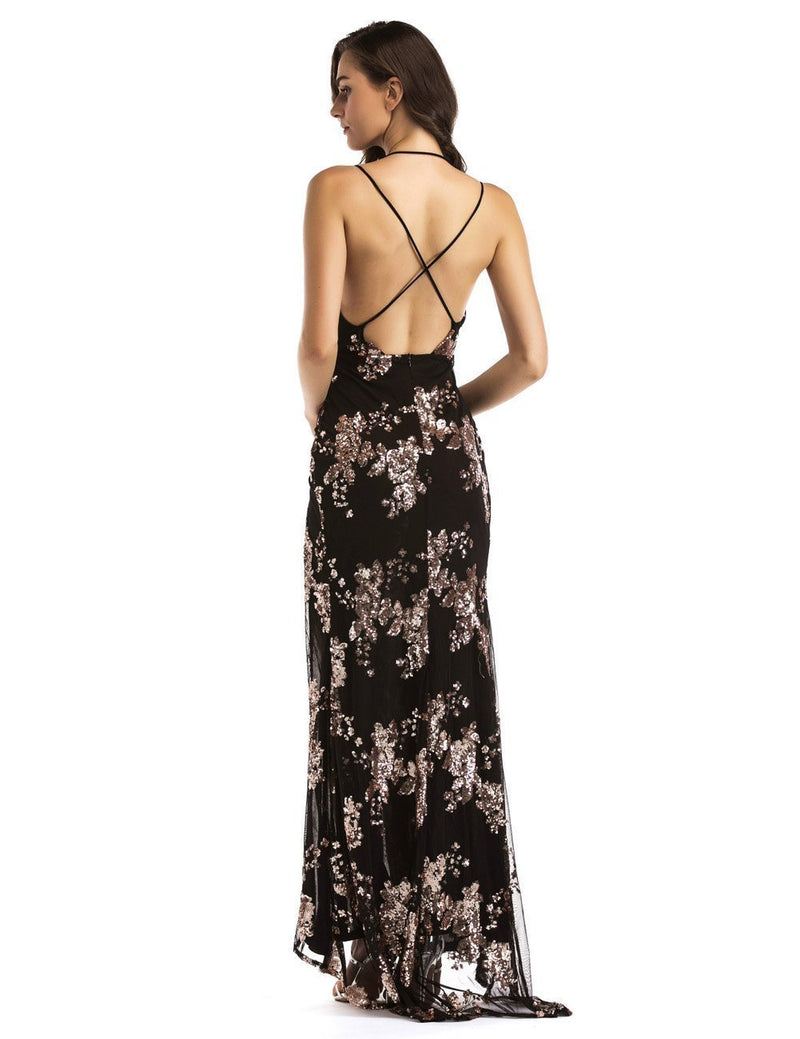 Backless Sequin Embellishment Party Bodycon Dress