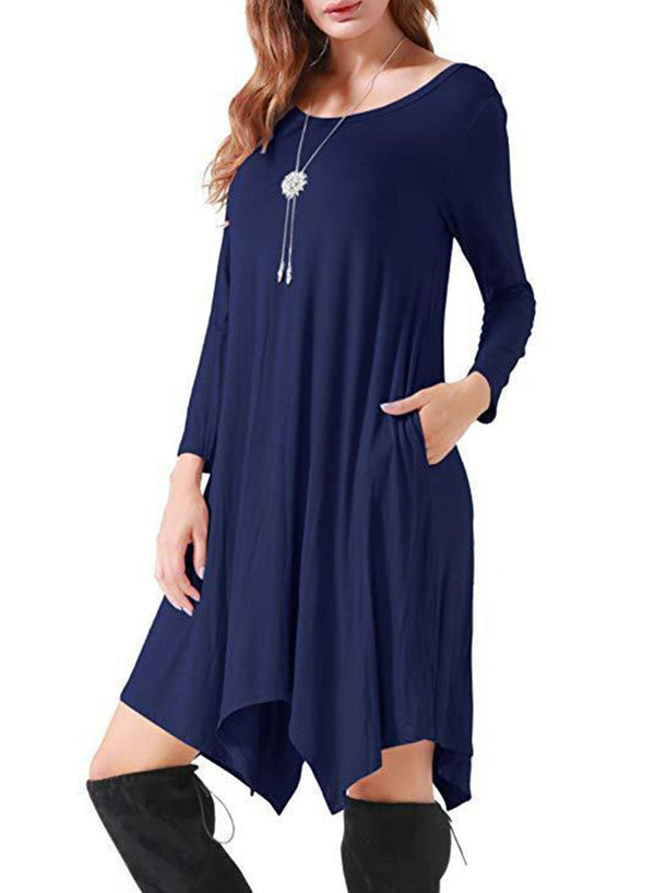 Round Neck Long Sleeve Pockets Mid-length Day Dress