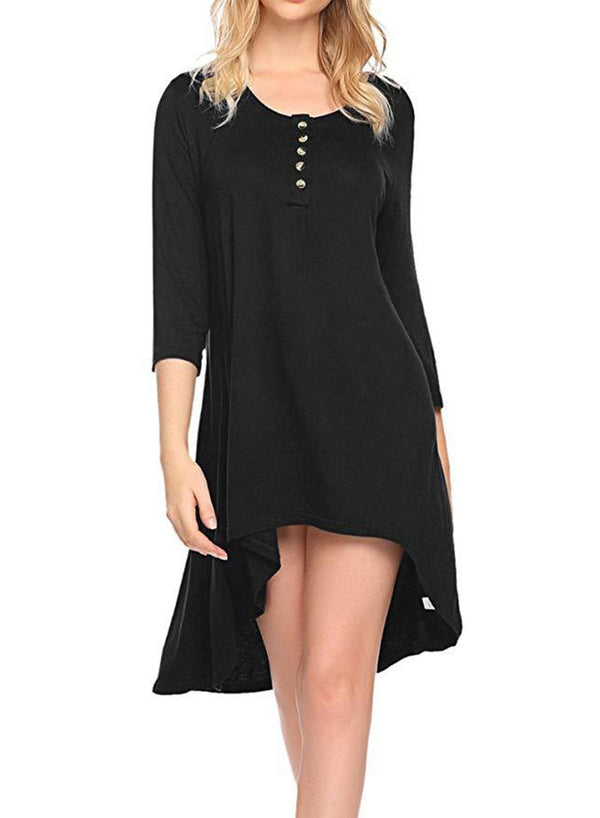 Round Neck Button Solid Color Loose Day Dress
