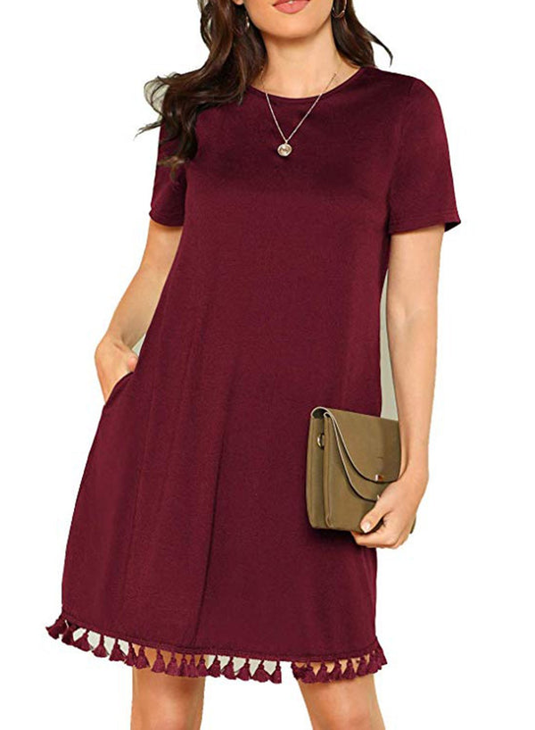 Round Neck Short Sleeve Loose Tassel Pocket Dress