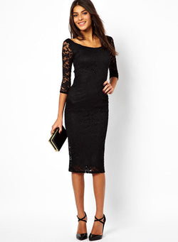 Cropped Sleeve Lace Slim Bodycon Dress