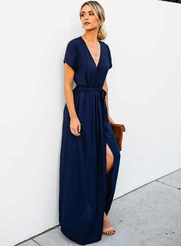 Elegant Solid Short Sleeve V Neck Waist Tie Slit Maxi Dress