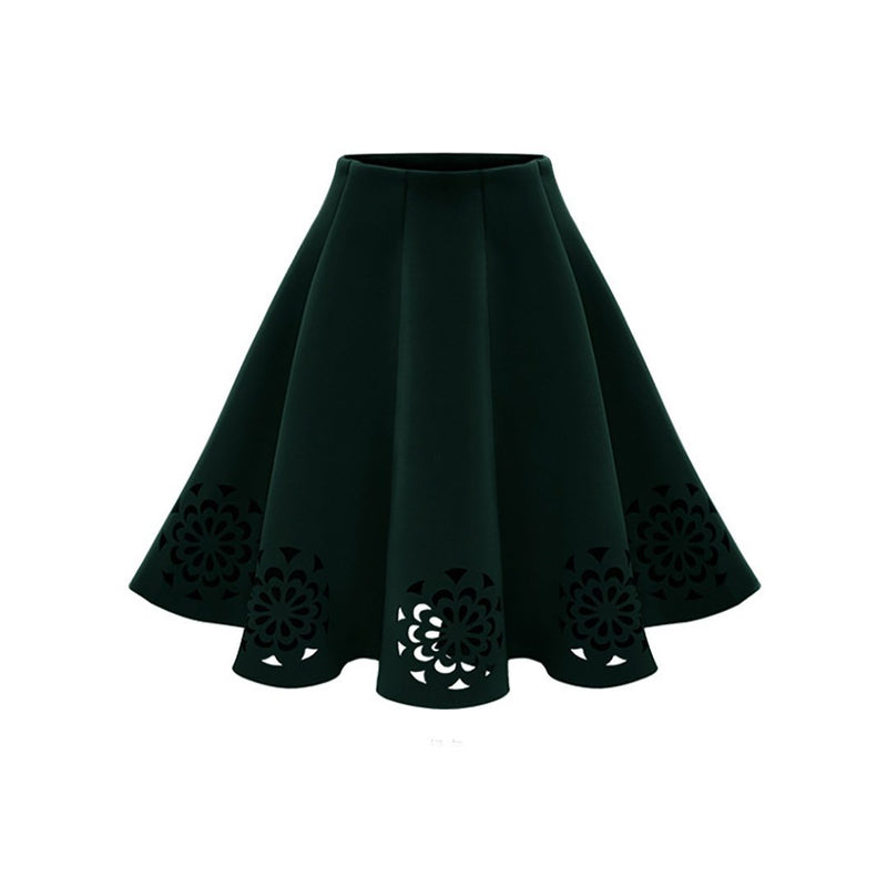 Stretchy Flared Flower Cutout Midi Skater Skirt
