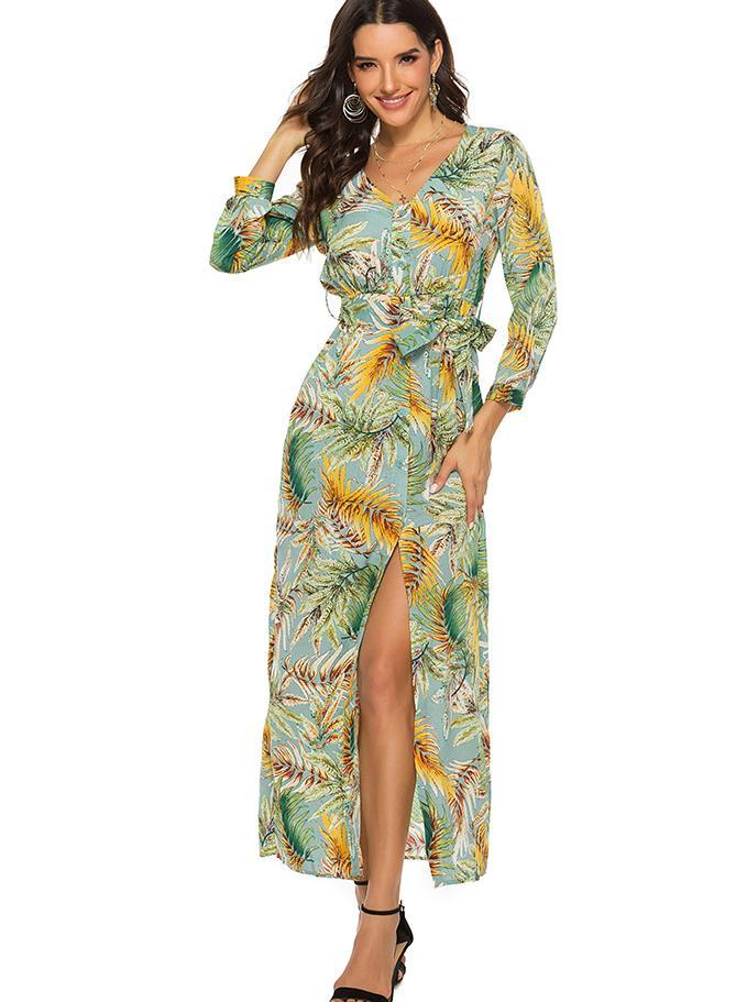 Women Bohemian Print Slit Beach Maxi Dress