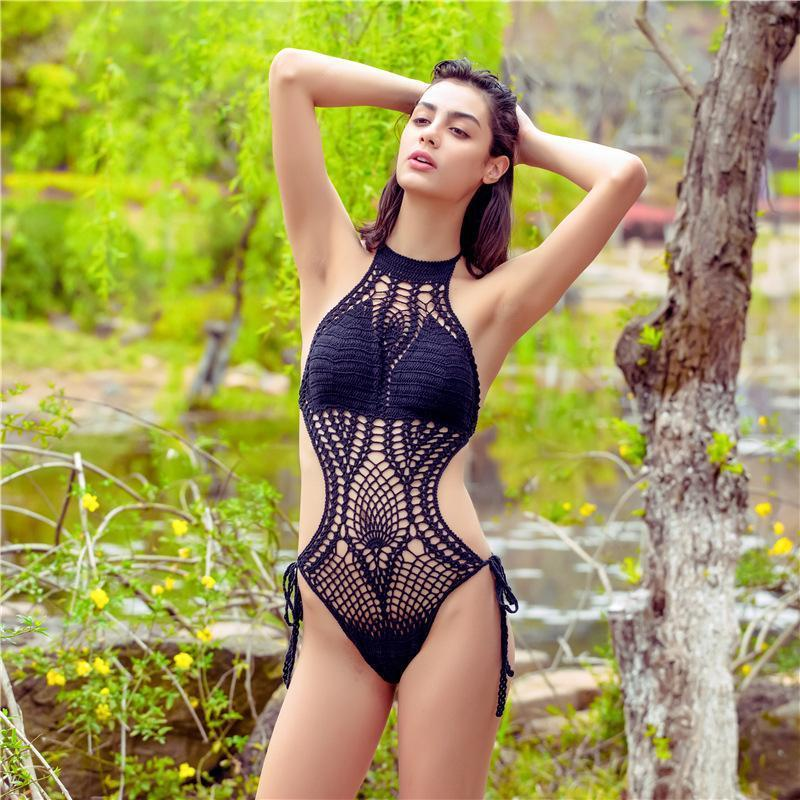Ins Hot Crochet Hollow Halter One Piece Swimsuit