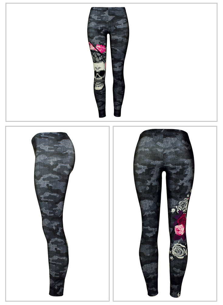 Women's Camouflage Halloween Skull Printed Leggings