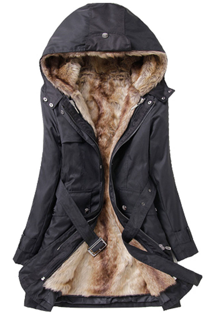 Woman Long Sleeves Thermal Faux Fur Lining Parka Coat