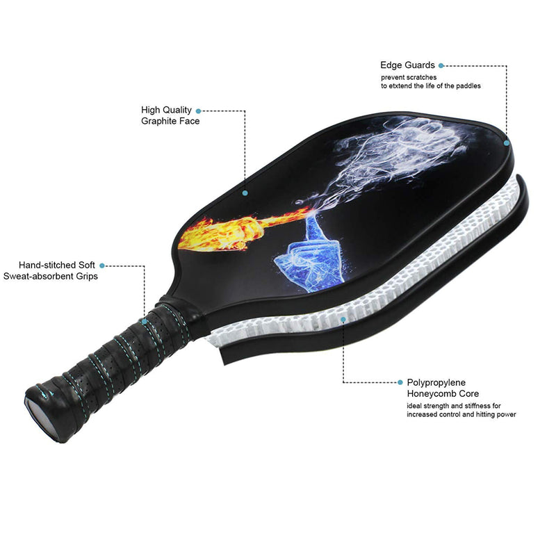 Composite Lightweight Long Grip Pro Outdoor Graphite Pickleball Paddle