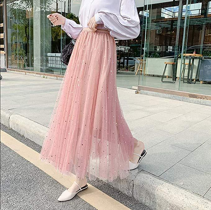 Ins Hot Long Tulle Sequins Stars High Waist Pleated Swing Maxi Skirt