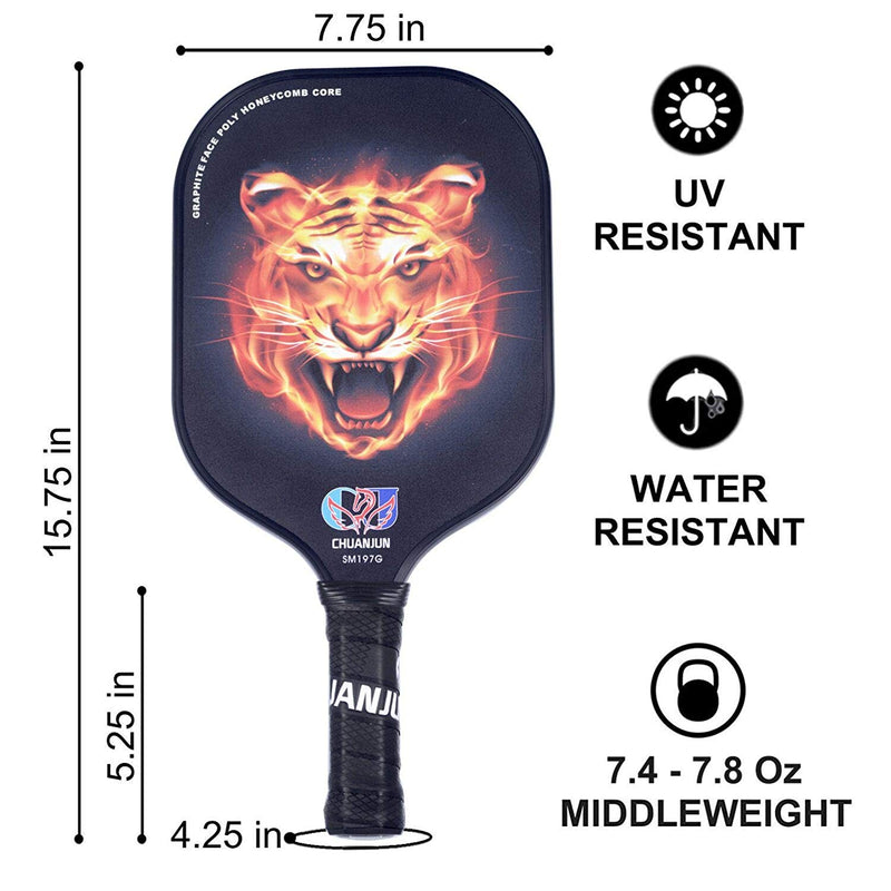 Honeycomb Composite Core Tiger Pro Outdoor Graphite Pickleball Paddle