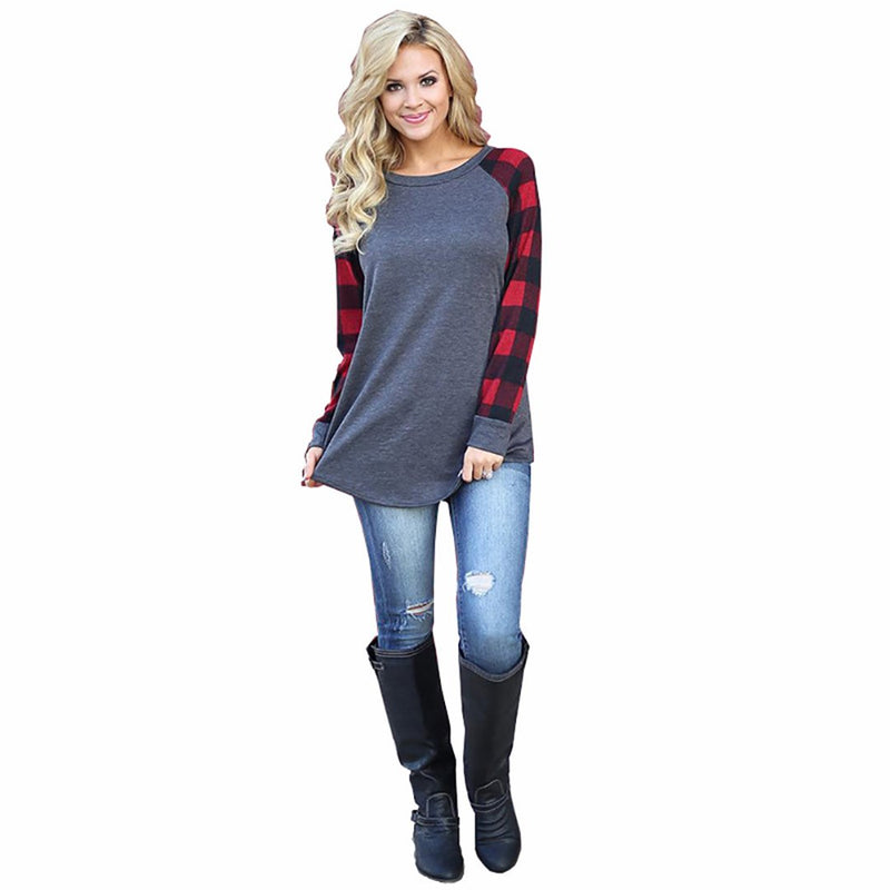 Women Round Neck Plaid Long Sleeve T-Shirt