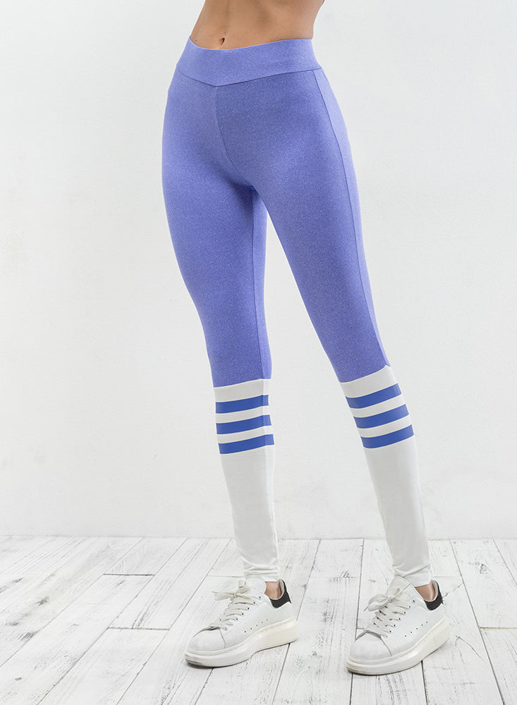 Women's Fashion Color Block Stripped Skinny Fit Sports Leggings