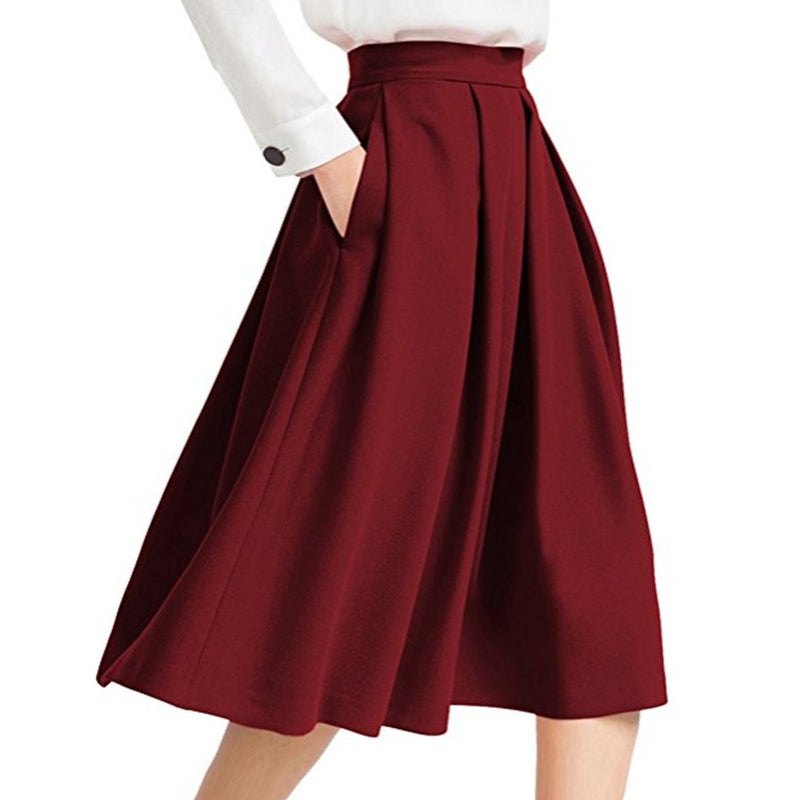 Pin Hot High Waisted A-line Street Skater Pleated Full Midi Skirt