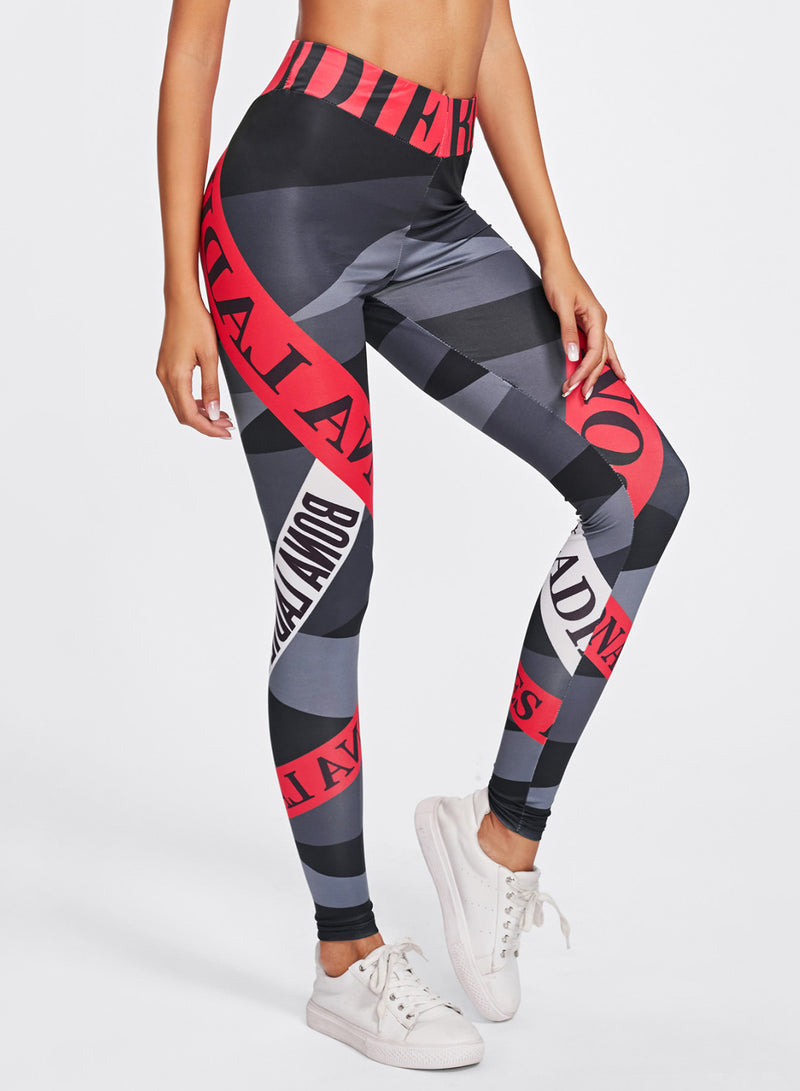 Women Digital Letters Print High Waist Fitness Yoga Leggings