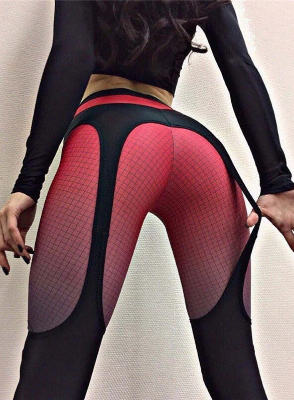 Women Mesh Splicing High Waist Sports Fitness Yoga Leggings