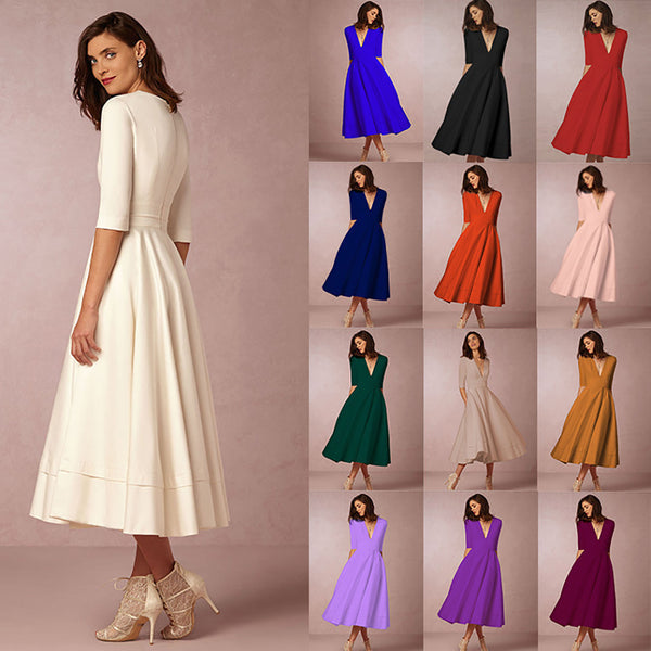 Women Elegant V-Neck Half Sleeve A-line Prom Dress