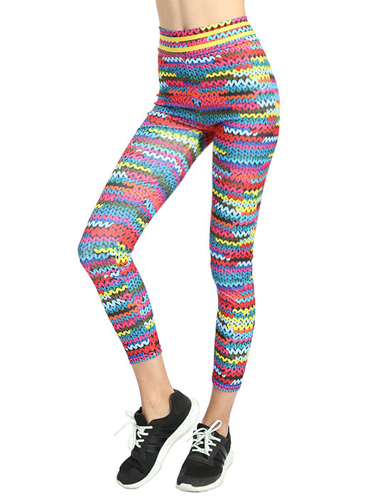 Women Milk Silk Rainbow Print Sports Yoga Leggings