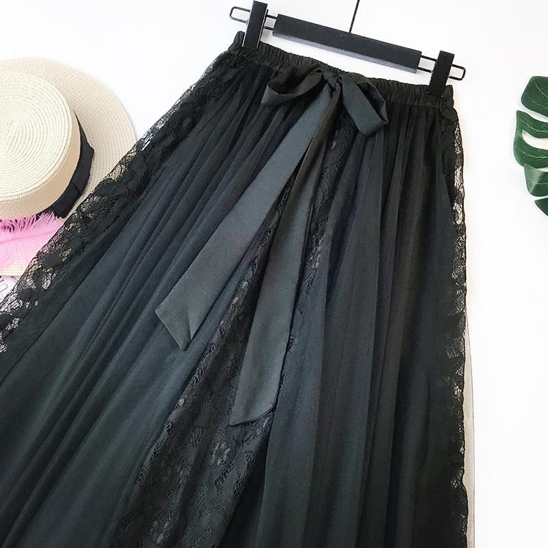 Ins Super Hot Fairily Mesh Tulle Embroidered Chiffon Skirt