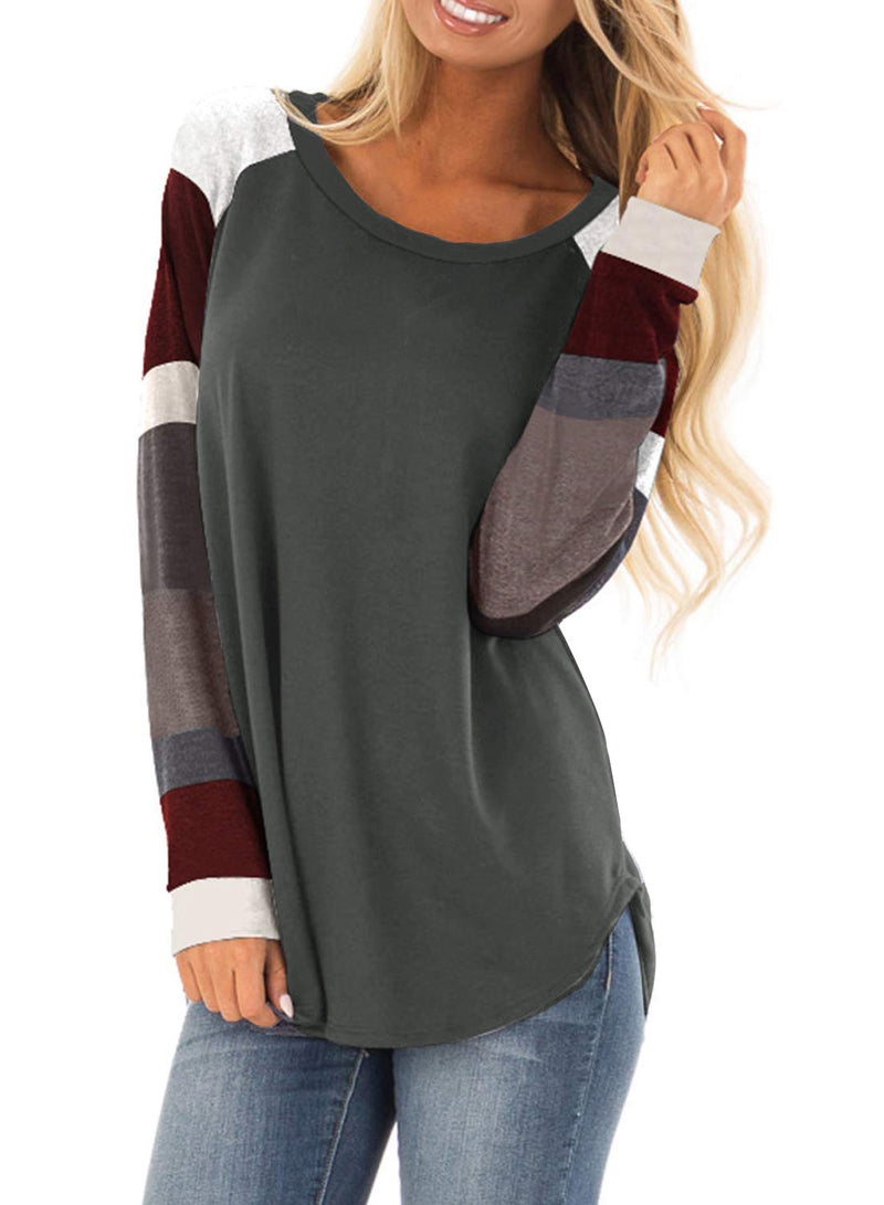 Women Round Neck Contrast Color Stitching T-shirt