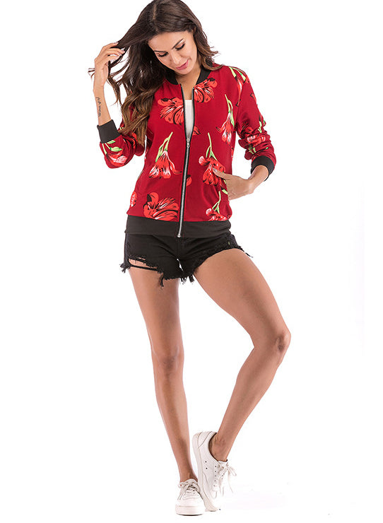 Women Flower Print Zip Baseball Cardigan Jacket