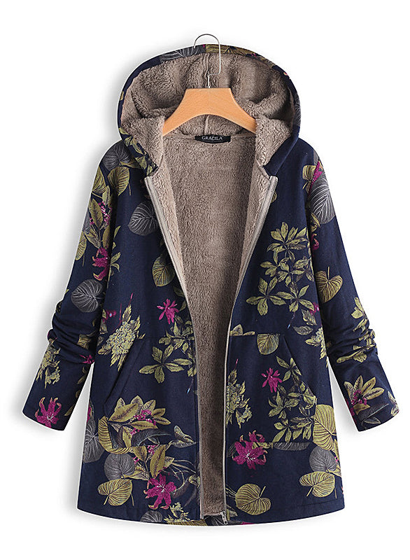Women Fashion Printing Hooded Warm Coat