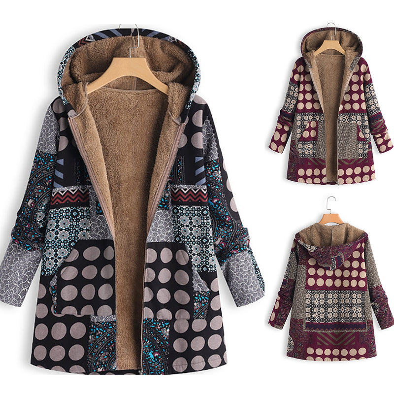 Women Fashion Printing Velvet Hooded Plus Size Coat