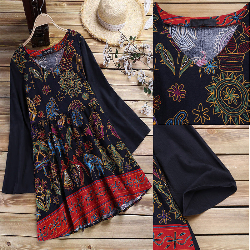 Cotton Asymmetric Printed Long Sleeve Blouse Dress