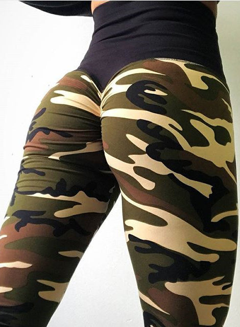 Women Digital Camouflage Printing High Waist Exercise Yoga Leggings