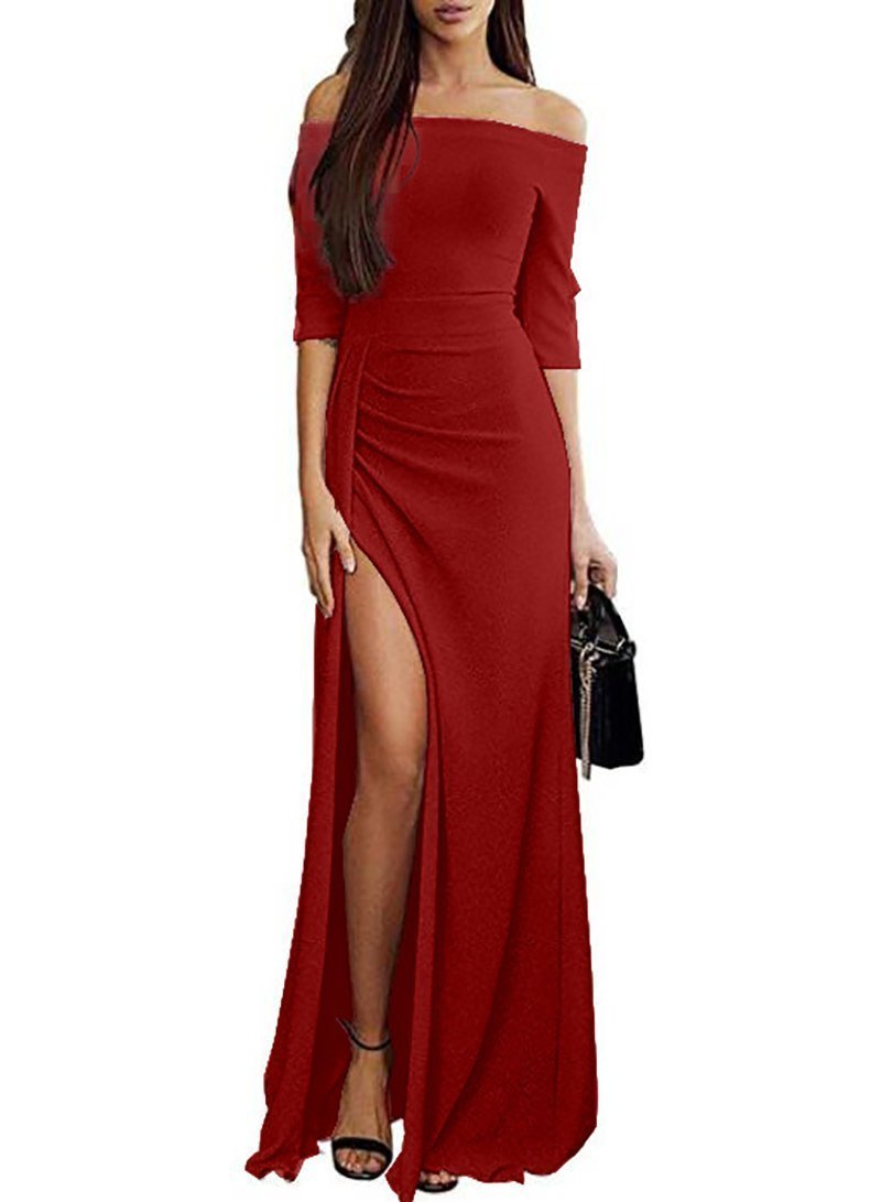 Women Off Shoulder Shine High Slit Bodycon Evening Dress