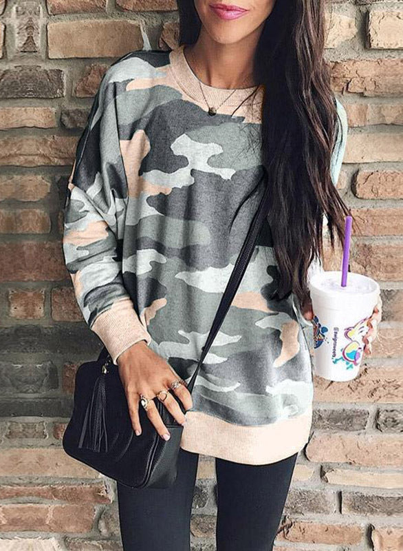 Camouflage Printed Round Neck Long Sleeved Sweatshirt
